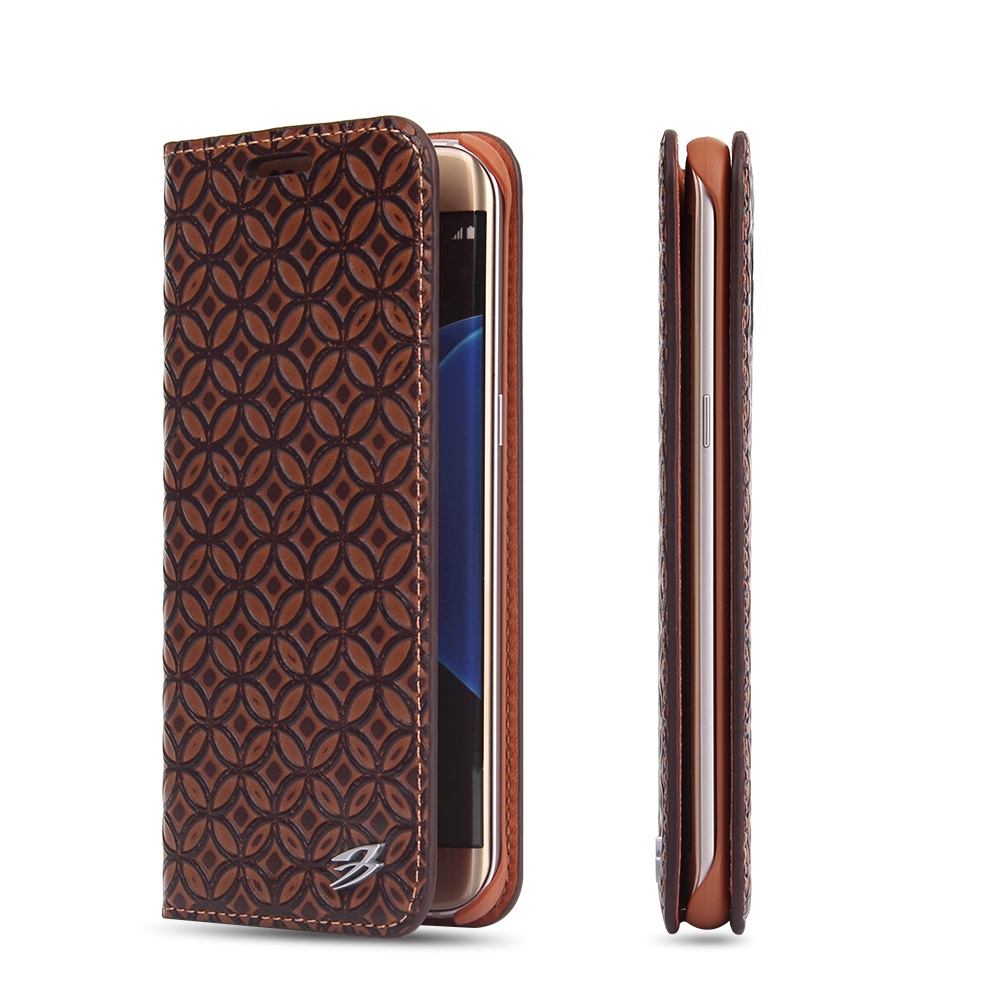 cell phone leather case copper lines full flip case for Samsung galaxy S7