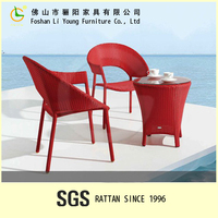 Chinese Style Red Color Patio Furniture Factory Direct Wholesale, Excellent Quality Elegance Handmade Outdoor Rattan Furniture