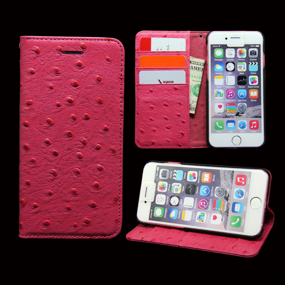 wp1045a Pink Ostrich Leather Cell Phone Case for HTC Mobile