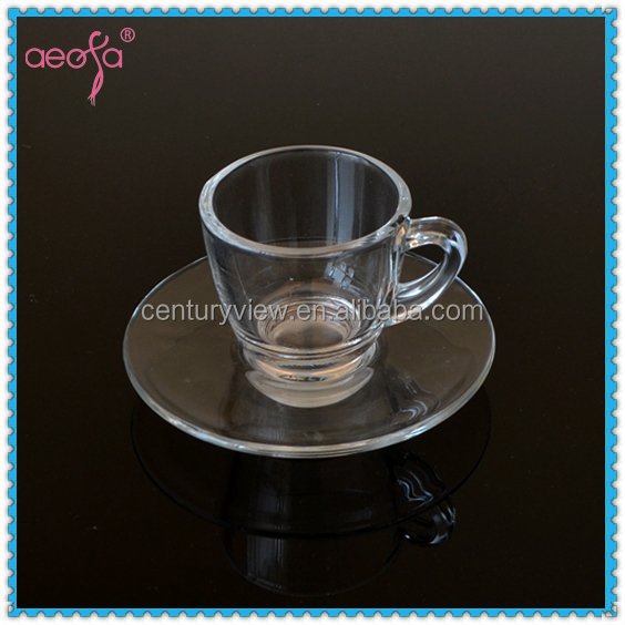 2oz Coffee Cup Set Glass Cup with Saucer Espresso Glass Cup