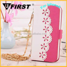 Card Slot Mobile Phone Purse Case with Chain for Iphone5/5s