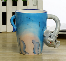 2016 hot selling animal design cute ceramic 3D handmade mug. Creative decorative animal shaped coffee cup without handle