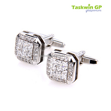 Crystal metal cufflinks customized wedding accesories metal cufflink for man