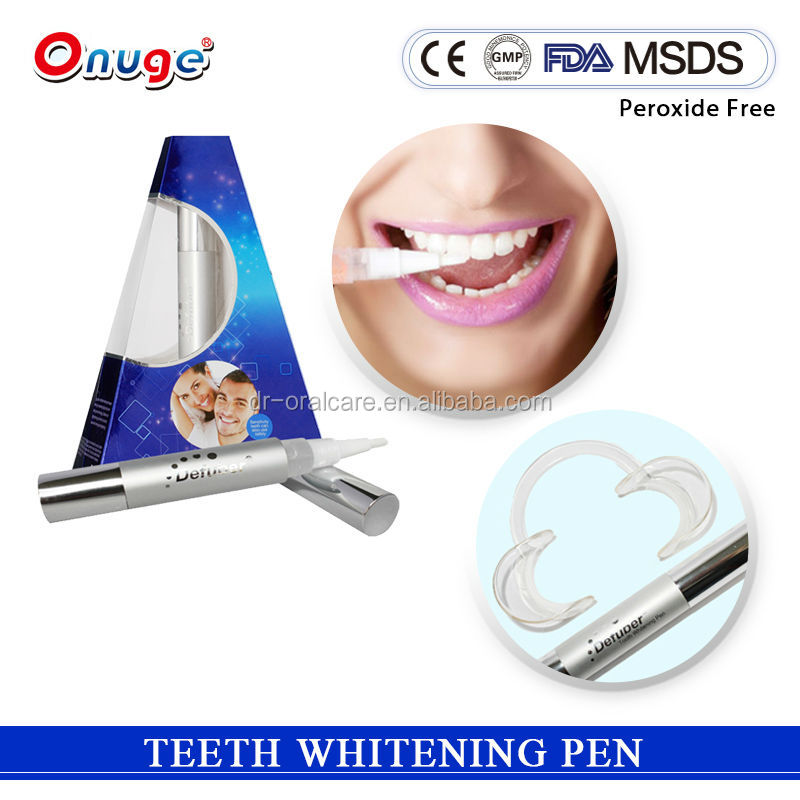 Stains removed with Formulas teeth whitening pen for Private label