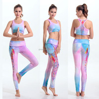 Free Shipping 3D Print Pink Beautiful Sky Fitness Clothing Sport Suit Women's Slim Gym Sets