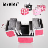 Red Professional Aluminum Beauty Cosmetic Makeup Case Box