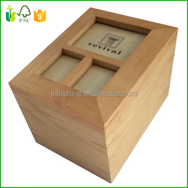 Contemporary Wood Light Pine Revival Keepsake Box With Photo Frame Lid