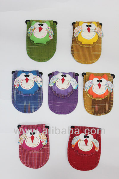 fashion smart phone size thai hand made cotton bag/w owl