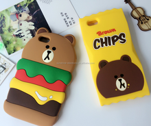 3d cartoon bear oft silicone case back protective mobile phone cover skin for iPhone 5 5s 6 6s plus