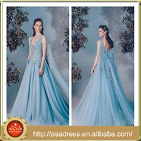 ALD09 Aqua Sleeveless V Neck and Low Back Special Occasion Gown 2016 Tulle Long Train Lace Appliqued Puffy Blue Prom Dresses