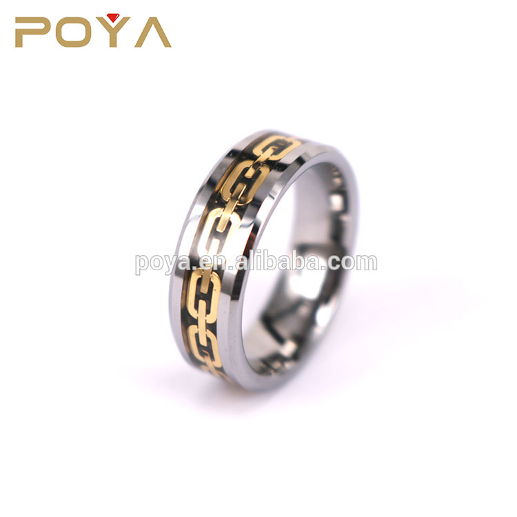 Perfect Christmas Gift 8mm Tungsten Carbide Ring Golden Tone Chain Link Black Carbon Fiber Inlay Mens Engagement Wedding Band
