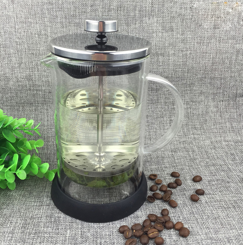 Double Wall 350ml French Press <strong>Coffee</strong> and Tea Maker Vacuum Insulated Glass Pot