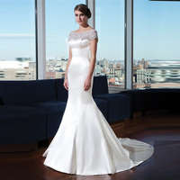 Alibaba O Neck Elegant White Satin Mermaid Wedding Gowns 2015 New Arrival with Beaded Crystal Bridal Dresses LW23