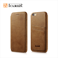 ICARER Genuine Leather Wallet Case For Apple iPhone 6 / 6s Plus Real Leather Flip Cover With Card Slot For iPhone6 4.7 5.5 Inch