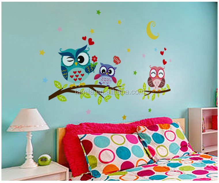 Removable Kids Cartoon Owl Wall Sticker for Home Decoration