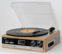 3-Speed Turntable with MP3,Cassette,SD Card,USB player, Digital AM,FM Radio, AUX IN, Line out Alarm CLOCK , Remote
