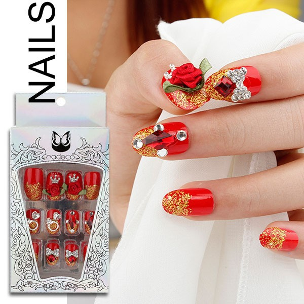 3D red color crystal false nail with rose