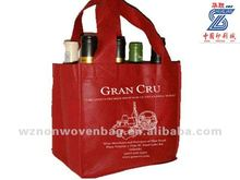 promotional 80g non woven fabric imprint eco 6 bottles wine tote bag(HL-6060)
