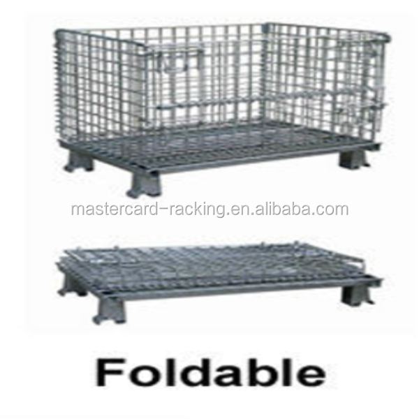 Rolling metal cargo storage cages foldable mesh storage cage