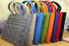 New Arrival Colorful Felt Tote Handbag Beach Bag with Leather Handle Shopping Women Bag Tote Hand bag