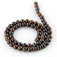 Natural high quality round bronzite beads