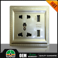2015 Universal type double usb wall socket wall usb outlet 220v 2.1A 1.0A