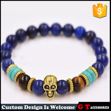 Fashion Style Wholesale Multi Color 10mm Round amber Turquoise Lapis Bead Bracelet