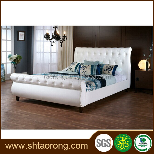 latest luxury hotel wood single leather bed TRBD-054