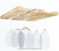 Under Cabinet Wooden Hanging Wine Glass Drying Rack for Home Kitchen