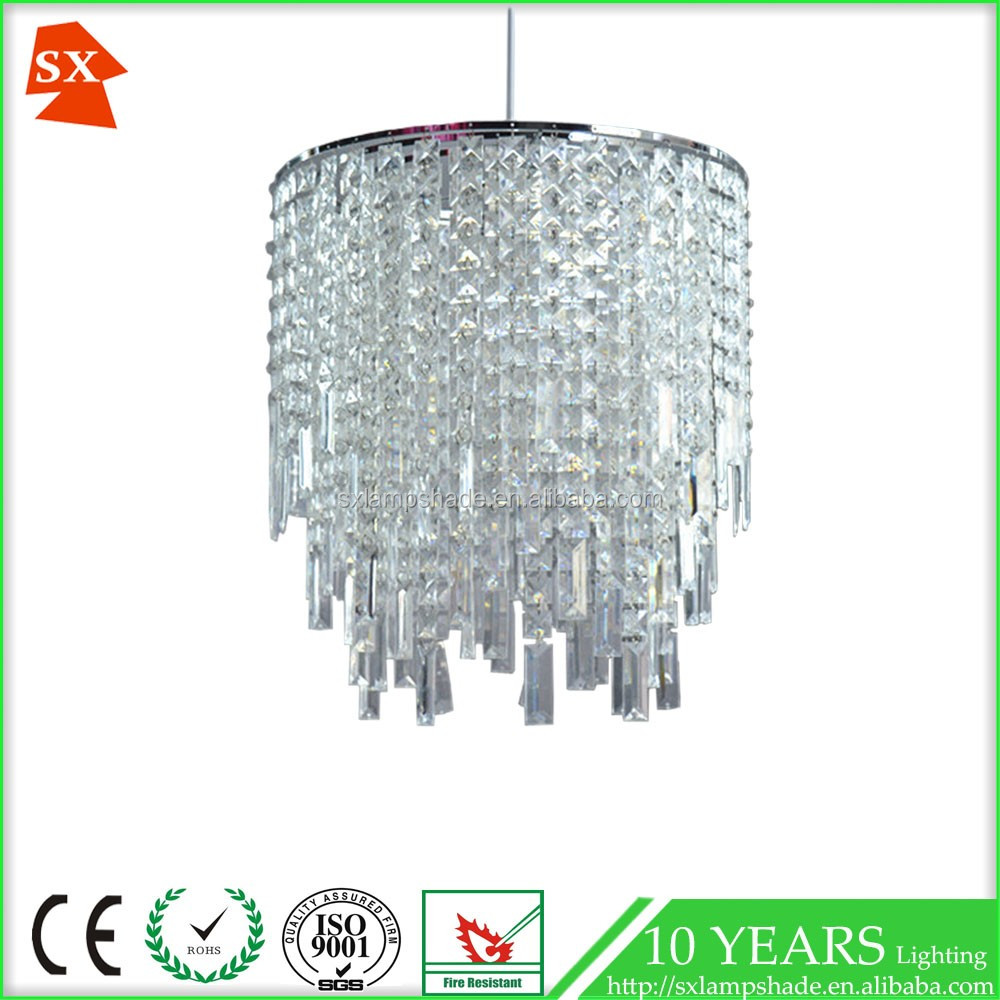 Modern acrylic crystal shade living room decorative hanging lighting lamp