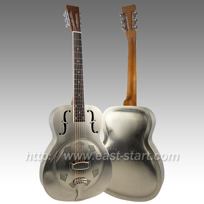 Laser Engraved Nickel Plated Round Neck Brass Single Cone Resonator Guitar