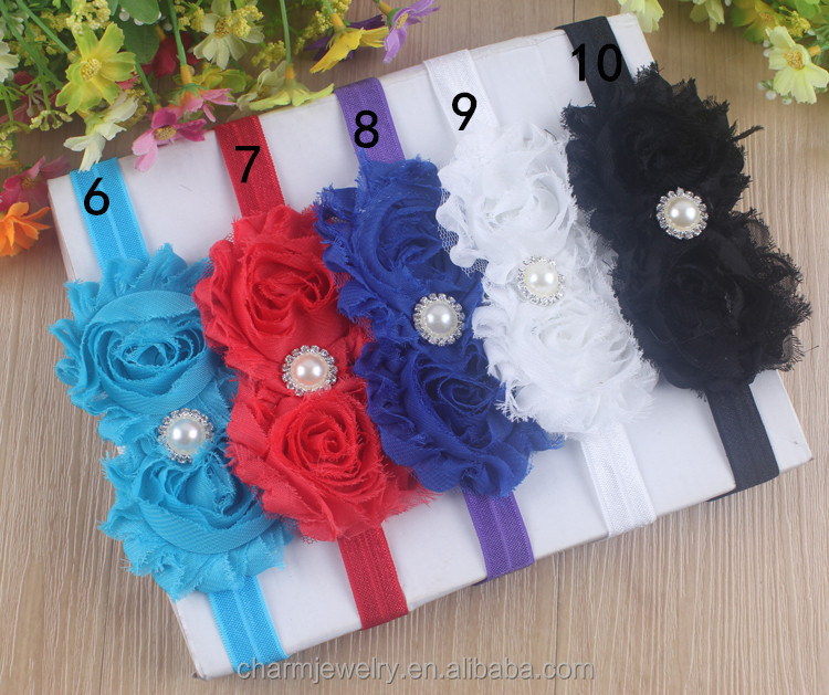 NEW shabby chic Baby Headbands Boutique flower +girls elastic hair bands+pearl hair accessories for kids BTS002