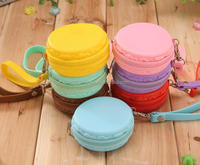 Candy Color Women Waterproof Silicone Macaron Round Coin Wallet Purses Clutch Money Bags With Zipper Strap