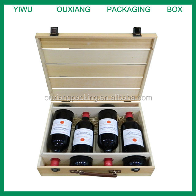 High quality 2014 cheaper pine wooden wine box/ wine case for 4 bottles