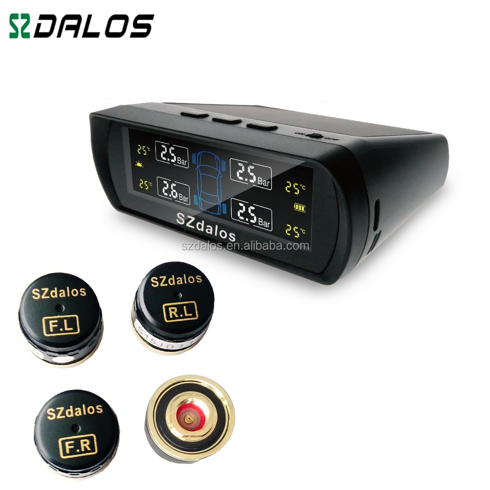 Auto Wireless Solar Rechargeble Digital Tyre Pressure/Temperature Accurate Monitoring System Tyre Pressure 4Pcs External Sensor