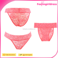 Hot Red Low-rise High-cut Thong Lace Sexy Women Underwear Model
