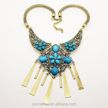 Trendy 2014 Autumn Fashion Vintage Women Men Jewelry Bohemia Alloy Crystal Statement Necklaces 5pcs/Lot(NJEW-L025-D01)