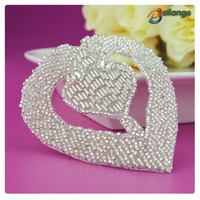 Wholesale bling silver bead crystal pearl Bailange Handmade decorative heart shape accessories rhinestone for bridal sashes