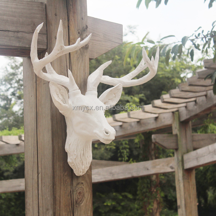 Handmade home decoration white faux deer head