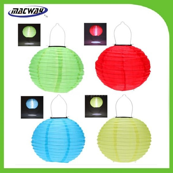 Outdoor Solar Powered Hanging Printed Chinese Lantern for Festival