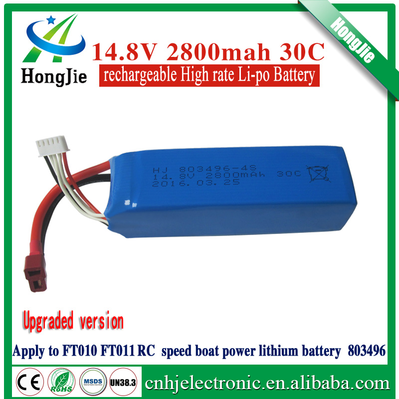14.8V 2800mAh 30C 803496 2800mah rc lipo battery pack for speed boat FT010 FT011