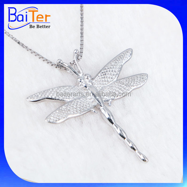 Hot White Gold CZ Paved 925 Sterling Silver Dragonfly Shaped Pendant Necklace