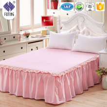 Elegant dyed solid hotel bed skirt warm tone bedding