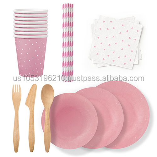 Disposable Party Cups and Supplies Made in USA color Pink Set
