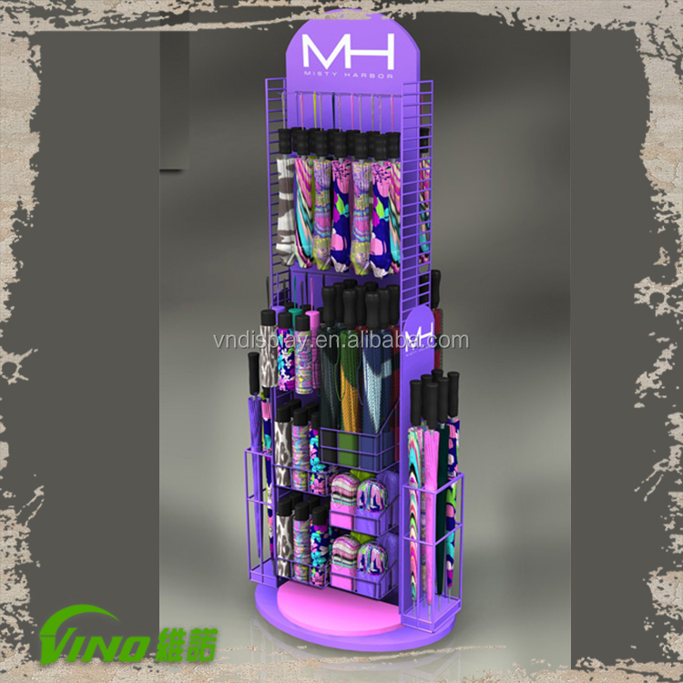 Purple Umbrella Display Rack, Goods Display Stand, Shop Display