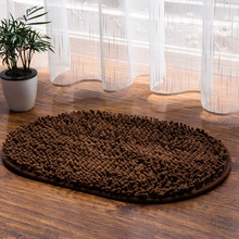 Oval shape thickened microfiber chenille fabric carpet mat