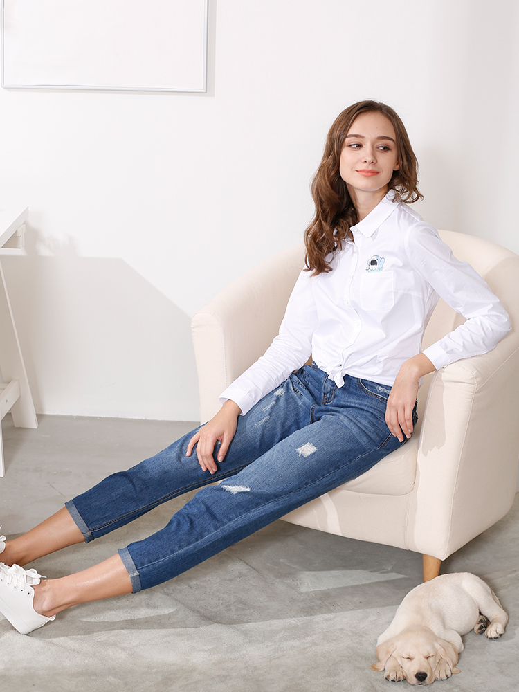 Women's Summer Blouse Tops Long Sleeve Casual Female White Button Down Shirt