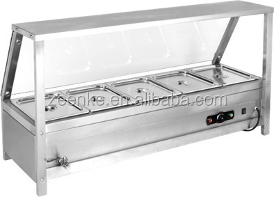 Kitchen equipment stainless steel table top electric hot food showcase bain marie warmer cover