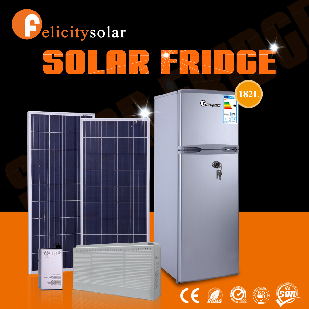 2016 guangzhou felicity brand 182L solar dc 12v double door refrigerator dimensions