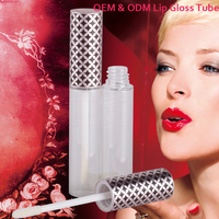 Customized fashional empty mini lip gloss case , aluminum led light lip gloss containers lipgloss tube with brush